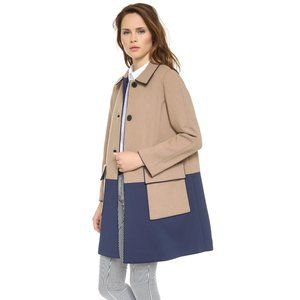 Club Monaco Wool Blend Camel Navy Blue Coat XS